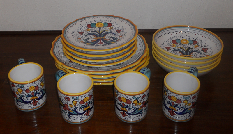 ... most talented artists of Deruta and one from Faenza. Please do not hesitate on contacting me for special requests or for items not yet listed in ebay. & HAND PAINTED RICCO DERUTA PATTERN DINNERWARE SET 16 PCS | eBay